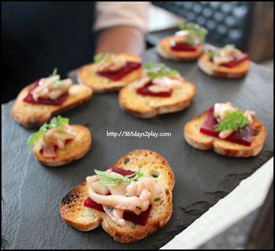 Jaillance Event at Balzac Brasserie - Carpaccio of REd Beetroot and marinated Calamari