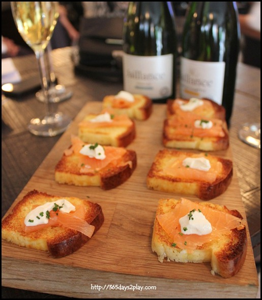 Jaillance Event at Balzac Brasserie - Smoked Salmon and creme Fraiche and Chives on Mini Tartine