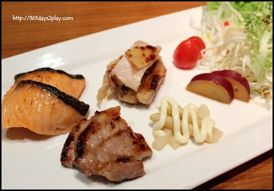 Sun Dining - Fukuoka Shiokoji Moriawase (Shiokoji marinated meat platter of Berkshire pork, tender chicken and salmon) (1)