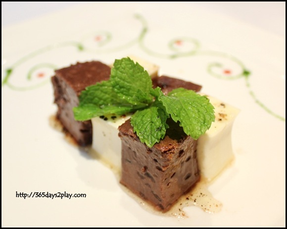 Oso Ristorante - 70% dark chocolate and almond timbale bonnet & Double cream flan panna cotta with caramelized black pepper sauce