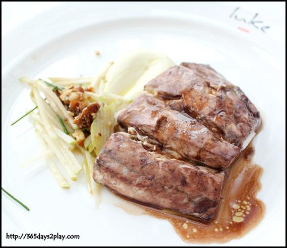 Salt Grill & Sky Bar - Red wine poached barramundi, Cauliflower puree, nashi pear