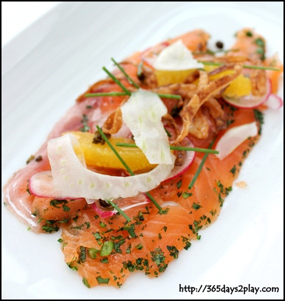 Salt Grill & Sky Bar - Salmon Gravlax, Crispy Capers, Radish, Fennel, Orange, Onion Rings, Lemon Olive Oil (1)