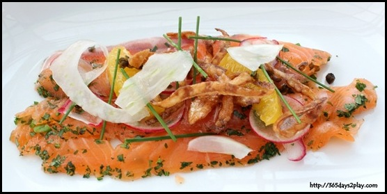 Salt Grill & Sky Bar - Salmon Gravlax, Crispy Capers, Radish, Fennel, Orange, Onion Rings, Lemon Olive Oil (2)