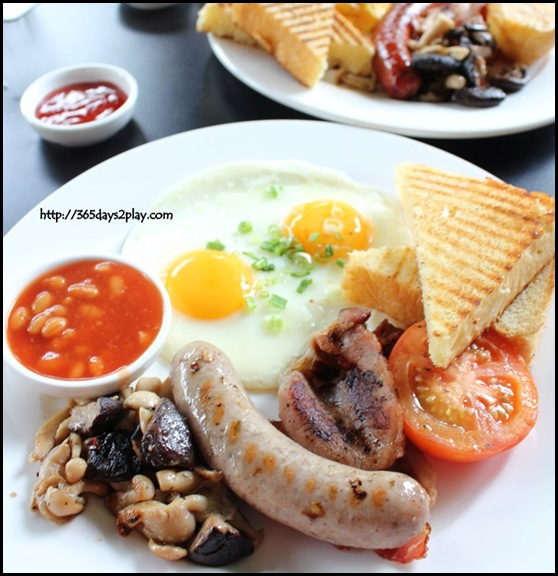 Spruce -  Spruce British Brekkie (Eggs, Bacon, Cumberland Sausage, Baked Beans, Roasted Tomato, Mushrooms and Foccacia Toast) $19