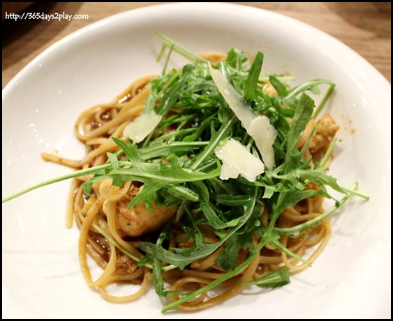 Cafe Melba - Crayfish linguini with red peppers, rocket and crayfish bisque $26 (1)