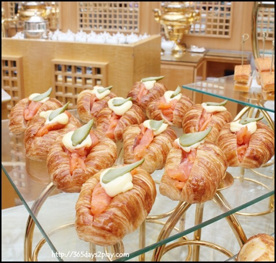 Ritz Carlton Chihuly Lounge Winter Afternoon Tea - Smoked Salmon with Pickled Gherkin in Mini Croissant