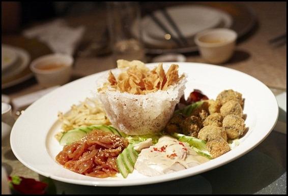 Four Seasons Hotel Wedding - Jellyfish, Wasabi Prawn Roll, Roasted Duck, Crispy Silver Fishes and Drunken Chicken) (2)