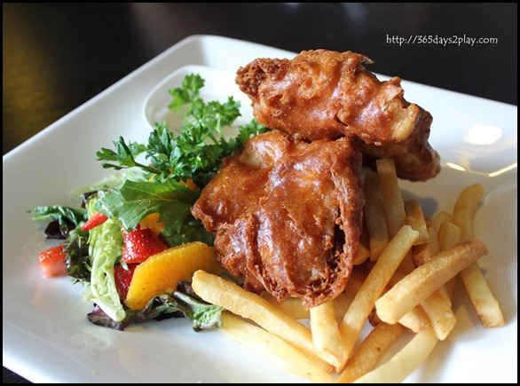 STREET 50 - Cod & Chips (Fresh cod deep-fried in beer batter served with a fruit salad, fries and tartar sauce) $18 (2)