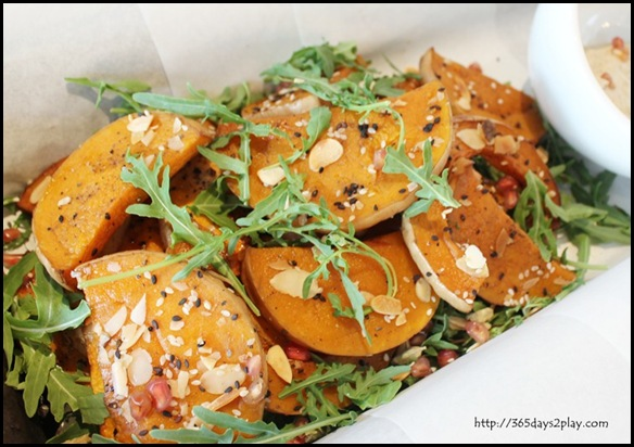 The Big Sheila - Roasted pumpkin, chargrilled eggplant mousse, almonds, sesame & sunflower seeds $14