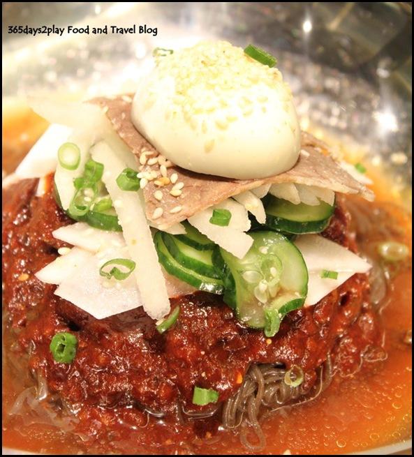 Bornga -  Bibim Naeng Myun (buckwheat noodles in a spicy chilli sauce; $15)