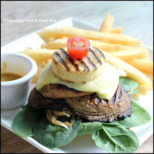 Relish @ Cluny Court - Grilled Portobello Tofu Burger with honey mustard sauce, caramelised onions, spinach and cheese $17.80