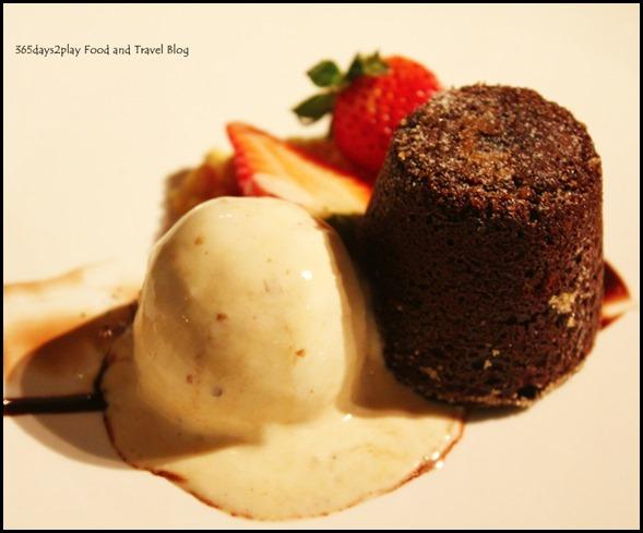 Callebaut Warm Chocolate Molten Cake - warm callebaut chocolate fudge center, maple walnut gelato ($14  )