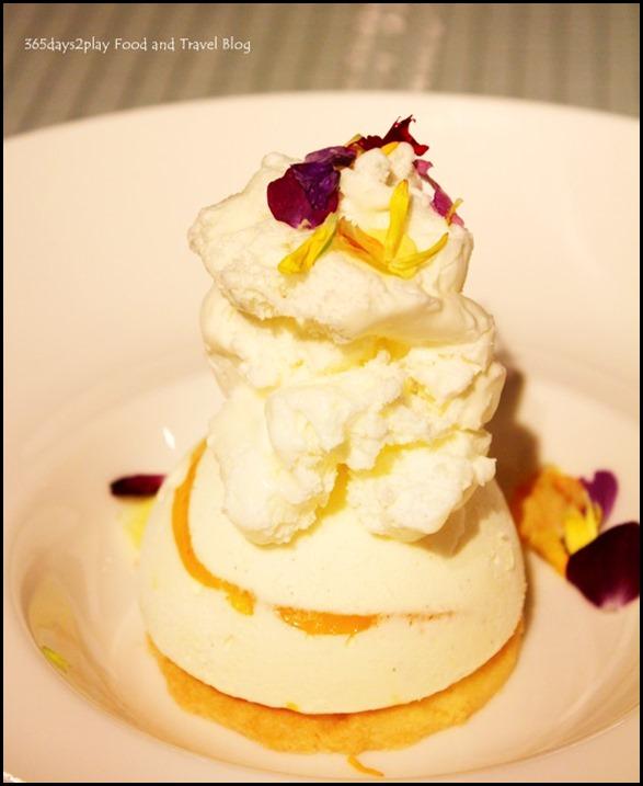 Mango & Cheese Semifreddo - rippled frozen mousse, Frozen lime foam, sablee cookies ($12  )