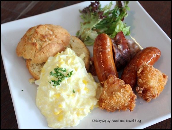 Sunray Cafe - American Breakfast $14.90 (Eggs, italian sausages, cheese croquettes, bacon and homemade bread) (2)