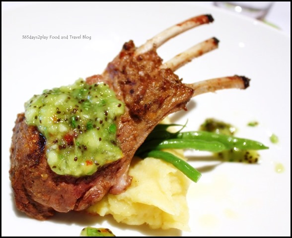 Charred grilled lamb cutlets served with mashed potatoes and kiwi relish (2)