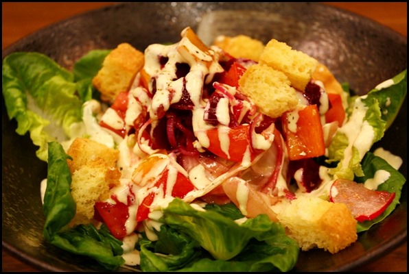Zafferano - Insalata Zafferano (Romaine hearts, fennel, roma tomatoes, shallot, beetroot, capticum, brioche croutons and shallot cheese dressing $18