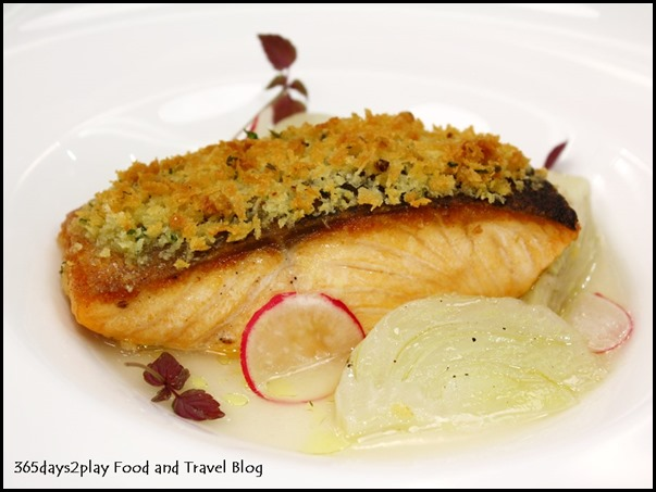 Zafferano - Salmone Scozzese arrosto (Herb crust roasted salmon served with fennel confit, turnips and lemongrass infusion) $365