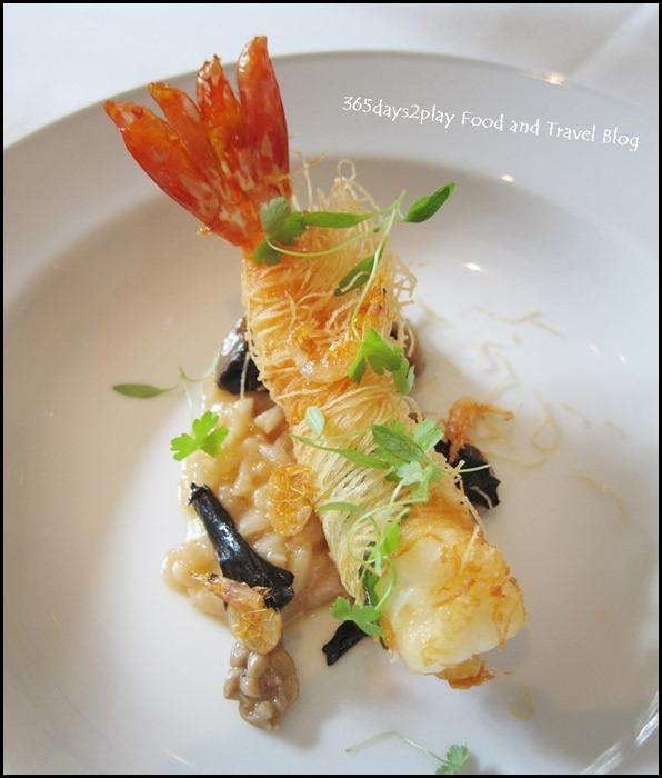 Au Jardin Wedding - Kataifi wrapped Qwehli prawn with shellfish risotto, sakura ebi, wild mushrooms