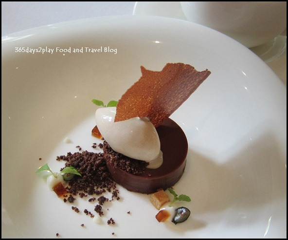 Au Jardin Wedding - Manjari 64% chocolate ganache tart with chocolate soil milk pudding, burnt butter ice cream