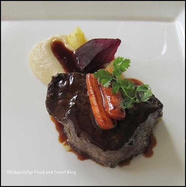 Au Jardin Wedding - Roasted Angus Striploin, root vegetables, onion puree, red wine sauce