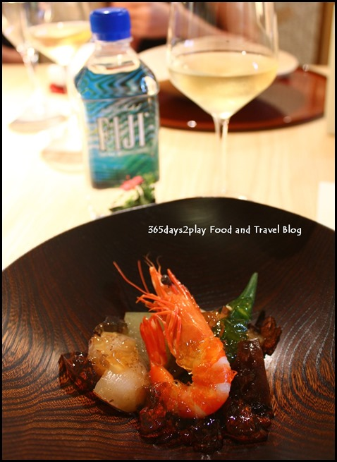 Hashi - Fresh Live Prawn, Hokkaido Scallop and Mixed Vegetable with Japanese Jelly by Chef Tadashi Takahashi (2)