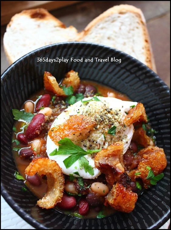 Intrepid Gastro Bar - Dukkah Spiced Baked Beans – Tomato & herbs ragu, poached egg, and roast pork belly ($16 ) (1)