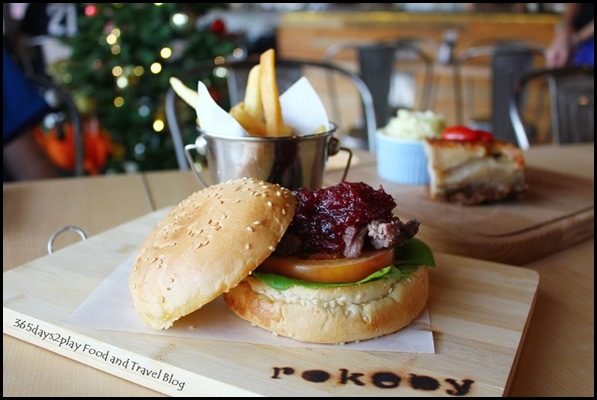 Rokeby Cafe Bistro - The Kangasaurus (120gm grilled kangaroo loin sliced on toasted sesame seed bun, with spicy cranberry mix) $22 (4)
