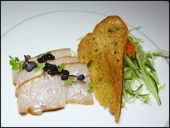 Absinthe Restaurant Francais - Hamachi (Carpaccio of Marinated Yellow Tail Kingfish, Aquitaine Caviar, Cucumber and Baby Cress; $26  ) (2)