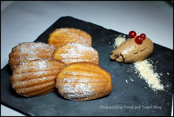 Absinthe Restaurant Francais - Madeleines (Freshly Baked-to-Order Vanilla Madeleines, Valrhona Chocolate Mousse; $15  )