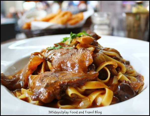 Oriole Cafe Bar - Beef Cheek Tagliatelle (red wine and citrus braised beef cheek, mushroom, shallot oil) $22 (3)
