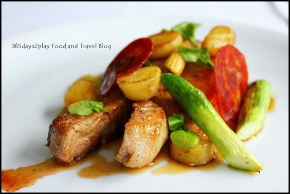 Au Jardin - Butter roasted US pork rack with sauteed asparagus, baby potatoes, aged ham and pan jus (1)