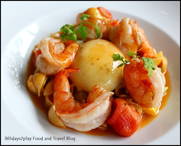 Au Jardin - Prawn a la plancha, egg confit, shell pasta and seasonal vegetables in shellfish glaze (2)