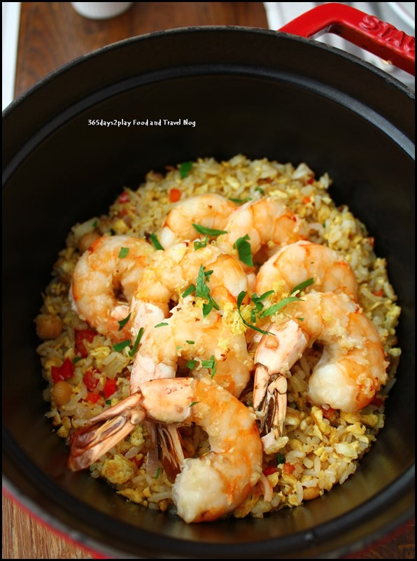 Balzac Brasserie - Grosses Crevettes roties Au Citron (Roasted Tiger Prawns and French Fried Rice served with Lemon Zest) $42 (4)