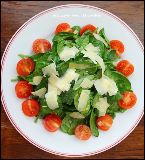 Balzac Brasserie - Organic Spinach Salad served with cherry tomato, emental cheese shavings and french dressing $16 (2)