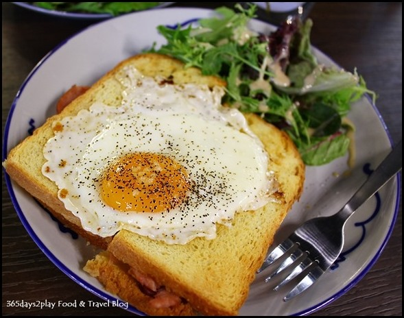Group Therapy Cafe - Croque Madame (Smoked ham, bacon, melted cheese between brioche and sunny side up) $14 (1)