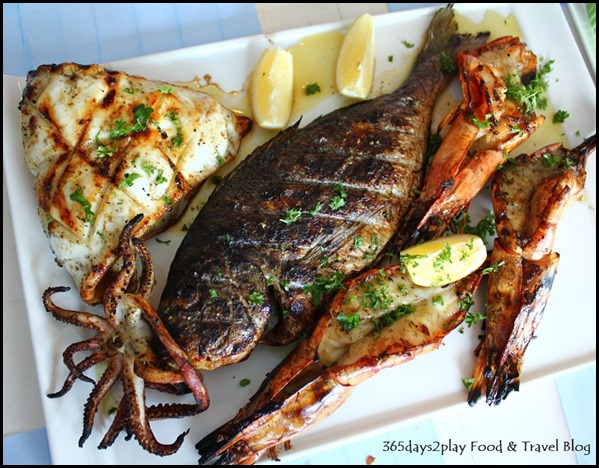 Blu Kouzina - Seafood Platter - Grilled Squid, Jumbo Prawns, Sea Bream 400g - $103 (8)