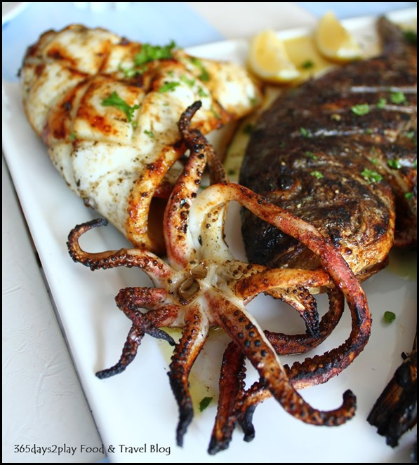 Blu Kouzina - Seafood Platter - Grilled Squid, Jumbo Prawns, Sea Bream 400g - $103 (9)