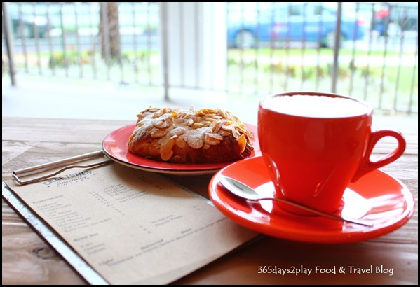 Craftsmen Speciality Coffee - Flat White $4.50 and Almond Croissant $4