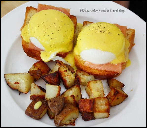 Fabulous Baker Boy Fab Egg Benedict with scottish smoked salmon $16.50