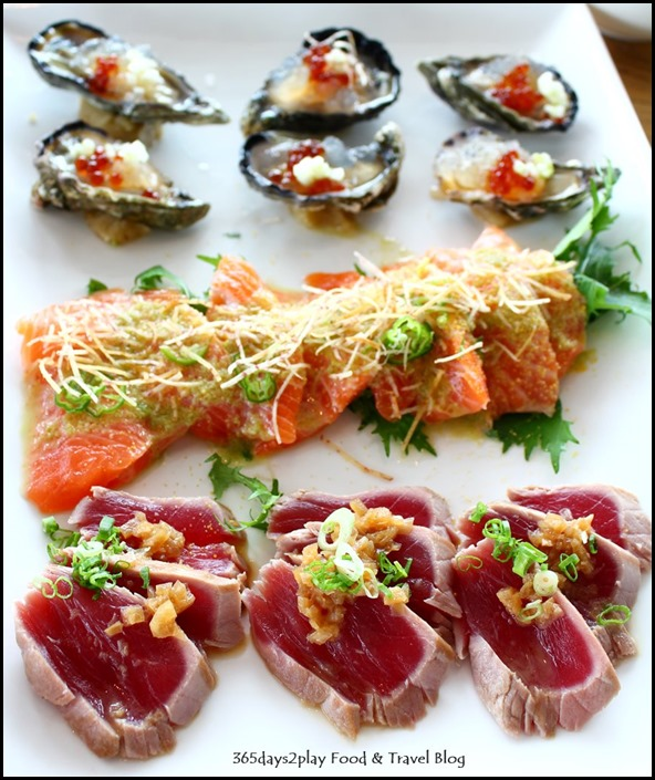 Ku De Ta - Oysters on Ice, Salmon Sashimi, Tuna Tataki (2)