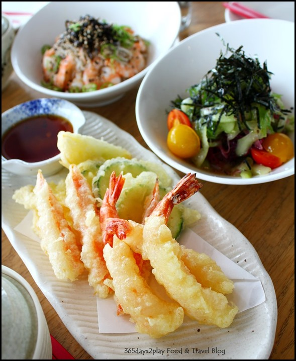 Ku De Ta - Prawn and Vegetable Tempura with cucumber salad and prawn salad in the background
