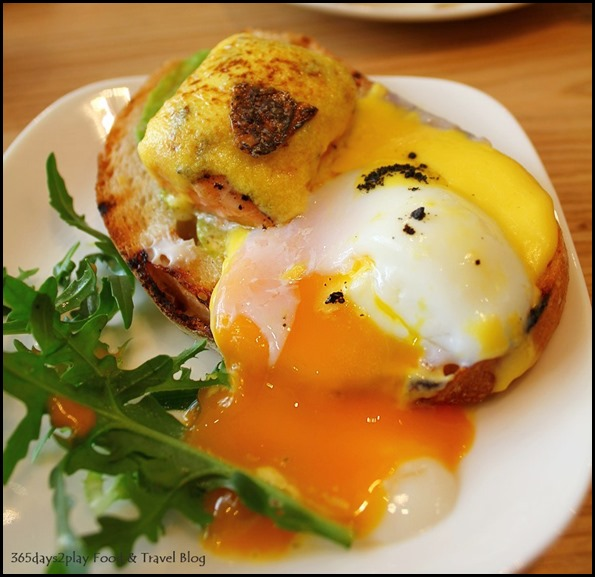 The Missing Pan - 62 Degree Eggs Benedict - Smoked salmon, avocado, seaweed crumbs on sourdough with in-house hollandaise sauce ($22  ) (1)