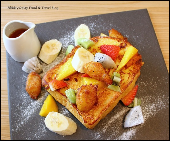 The Missing Pan - French Toast Salpicon - Chicken, spinach and mushrooms stuffed in French toast, banana nuggets, mixed berries, strawberry-smoked maple syrup ($19  ) (2)