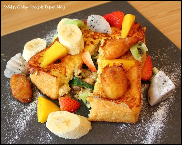 The Missing Pan - French Toast Salpicon - Chicken, spinach and mushrooms stuffed in French toast, banana nuggets, mixed berries, strawberry-smoked maple syrup ($19  ) (1)