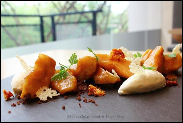 The Missing Pan - Mela Con Formaggi - Granny smith, banana caramel sauce, chocolate soil, citrus mascarpone, parmigiano reggiano chips, homemade honeycomb ($14  ) (1)
