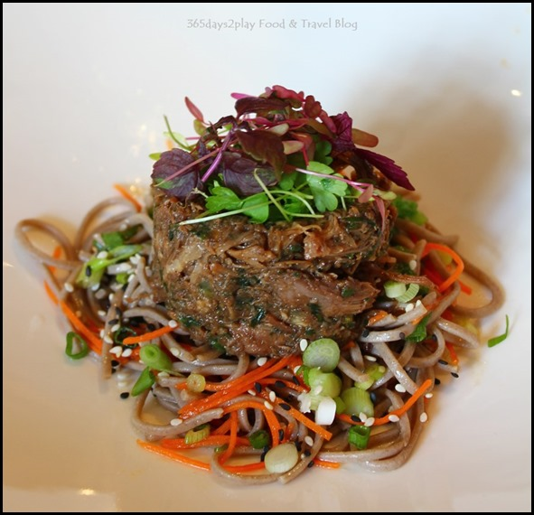 Halia at Raffles - Oriental pulled duck, Gherkin, caper, micro herb salad, soba noodle, sesame oil