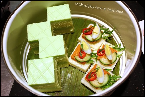 Pan Pacific Peranakan Afternoon Tea Set  - Open-Face Otak Sandwich with Quail Egg and Traditional Pandan Cake