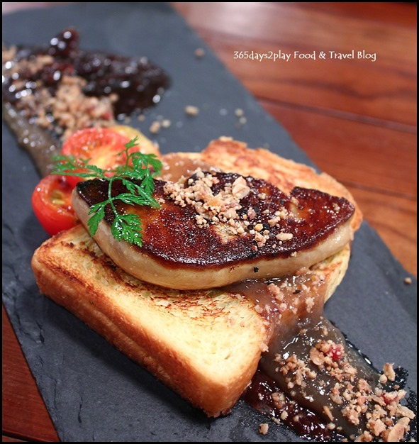 Seasons Bistro - Pan Seared Foie Gras ($16  ) -  Pain de mie, chocolate ganache, bacon jam, caramalized bananas and granola crumbs (3)