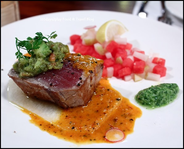 Seasons Bistro - Seared Albacore Tuna ($26  ) - Asian pear, avocado, jicama, watermelon with chipotle mojo and salsa verde
