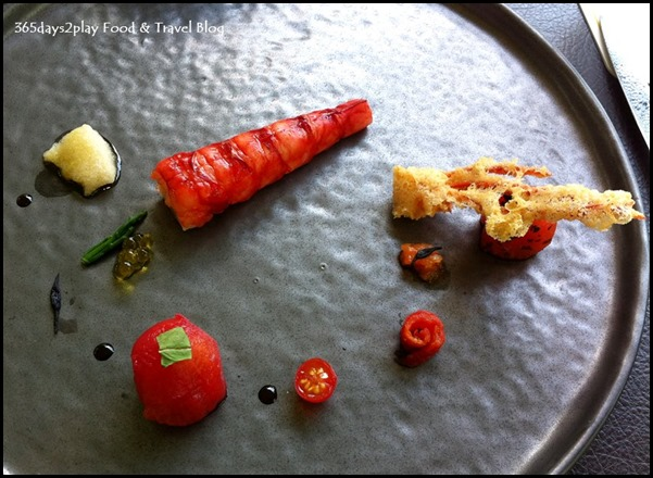 Corner House - Carabinero Prawn with variation of best season tomato, vintage sherry